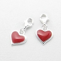 925 Silber Anhänger Charms rotes Herz